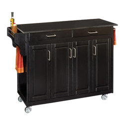 Home Styles - Home Styles Create-a-Cart 49 Inch Black Granite Top Kitchen Cart in Black - Home Styles - Kitchen Carts - 92001044 -Home Styles Create-a-Cart Kitchen Cart in a Black finish with a black granite top features solid wood construction, four cabinet doors open to storage with three adjustable shelves inside, handy spice rack with towel bar, paper towel holder, and heavy duty locking rubber casters for easy mobility and safety.