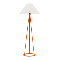 "Sonneman - Sonneman Tetra Gloss Orange Floor Lamp - Robert Sonneman has taken the timeless style of tripod surveyor lamps and simplified it to an elegant minimalist design. In this Tetra collection of floor lamps he celebrates straight angular lines of the triangle while remaining balanced with curves on the base and shade. White cotton pairs with a vibrant gloss orange finish in this contemporary floor lamp design. Sonneman Tetra collection floor lamp. Gloss orange finish. White cotton empire shade. Takes one 150 watt bulb (not included). 3-way turn switch. 51"" high. Shade is 19"" wide 9"" high. Base is 12"" wide.  Sonneman Tetra collection floor lamp.  Gloss orange finish.  White cotton empire shade.  Takes one 150 watt bulb (not included).  3-way turn switch.  51"" high.  Shade is 19"" wide 9"" high.  Base is 12"" wide."