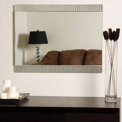 Decor Wonderland - Sam Frameless Wall Mirror - 23.6W x 31.5H in. - SSM5039-3 - Shop for Bathroom Mirrors from Hayneedle.com! You'll love the way the Sam Frameless Wall Mirror creates a beautiful focal point on any wall you hang it on. A combination of contemporary chic and refined charm it boasts a unique design with hand-etched grooves that create a framed look on either side. This stylish mirror will also coordinate well with any color scheme because you won't have to worry about the frame color matching your decor. Made of one solid piece of etched glass this mirror features a strong .19-inch-thick glass with beveled edges along with double coated silver backing with seamed edges for lasting use. The ready-to-hang mirror comes complete with mounting hardware. Wipe clean with a damp cloth. Use only water or window cleaner when cleaning this mirror.About Decor Wonderland of USDecor Wonderland US sells a variety of living room and bedroom furniture mirrors lamps home office necessities and decorative accessories. Decor Wonderland strives to add variety to their selection so that every home is beautifully and perfectly decorated to suit their customer's unique tastes.