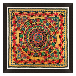 Wendover Art - Uzbek Silk III - This striking Giclee on Paper print adds subtle style to any space. A beautifully framed piece of art has a huge impact on a room for relatively low cost! Many designers and home owners select art first and plan decor around it or you can add artwork to your space as a finishing touch. This spectacular print really draws your eye and can create a focal point over a piece of furniture or above a mantel. In a large room or on a large wall, combine multiple works of art to in the same style or color range to create a cohesive and stylish space! This striking image is beautifully framed in rubbed espresso with gold.