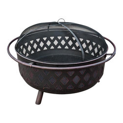 "Sunnydaze Decor - Bronze Crossweave Firebowl Fire Pit - 24"" tall with screen, 16"" tall without, 36"" wide from rim to rim, 31"" wide 11"" deep bowl, Approx 29 lbs."