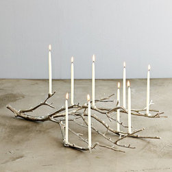 Manzanita Candelabra, Silver - This Manzanita candelabra is stunning — a perfect way to decorate for your holidays.
