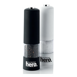Your Kitchen Hero - Electric Salt Pepper Mill Kitchen Grinder With LED Light Set Of 2 - This stylish electric salt and pepper mill set is the perfect addition to any kitchen table!  Also,  when the button is pushed down the LED light on the bottom of the unit lights up so you can see exactly what you are doing.