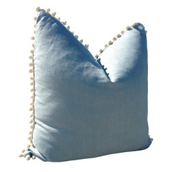 PillowFever - Linen Pillow Cover in Sea Foam Green with Off White PomPom Trim - Pillow insert is not included!