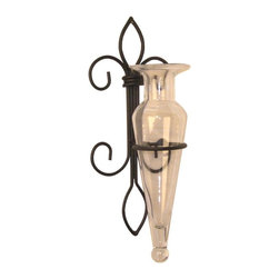 Danya B - Amphora Vase on Fleur Lis Sconce Clear Recycled Glass/Iron Flowers - • Fleur de Lis Sconce.