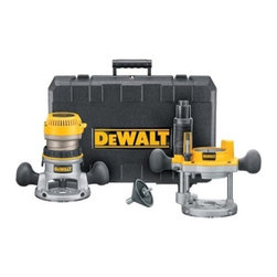 "Black & Decker - Dewalt - Router Combo Kit - 1-3/4 HP FIXED BASE/PLUNGE ROUTER COMBO KIT  11 amp motor provides power to rout smoothly  Micro-fine depth adjustment ring  Adjustable tool-free steel motor  Integral, through-the-column dust collection  Detachable cordset offers serviceability  Includes: DW616M motor pack, DW6184 fixed base  DW6182 plunge base, 1/4"" and 1/2"" collets  2 wrenches, concentricity gauge, vacuum adaptor    DW616PK ROUTER COMBO KIT"