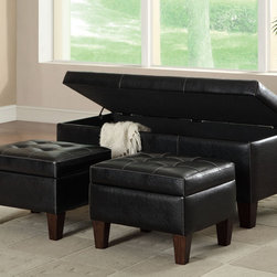 Coaster - Storage Bench - Wrapped in black leather-like vinyl with decorative white accent stitching and cappuccino legs, this 3-piece bench and ottoman set offers plenty of plush seating. Lift the bench top to reveal hidden storage inside.