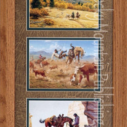 Rocky Mountain Publishing - Stuff Happens, Clark Kelley Price Western Art Framed Set - Horse  and  rider  have  a  unique  bond  that  can  be  clearly  seen  in  this  western  art  piece,  Stuff  Happens  Triple.  Not  only  does  it  depict  horse  and  rider  but  some  magnificent  landscapes  as  well.  Showing  the  majesty  of  the  western  mountains  in  the  first  pictures  you'll  see  the  serenity  of  horse  and  rider.  The  middle  features  a  cowboy  as  he  is  thrown  from  his  horse  during  a  round  up,  and  the  final  piece  includes  a  heartfelt  moment  as  cowboy  takes  care  to  feed  his  horse.  This  triple  includes  natural  settings  as  well  as  action  moments  to  create  beautiful  combination.                  Dimensions:  Glass  and  Matting  measure  10x20  inces;  Overall  size  approximately  16x26.              Artist:  Clark  Kelley  Price              Includes  hanging  hardware              Made  in  USA;  Allow  2  weeks  for  shipping              Treated  with  acid-free  protective  finish: