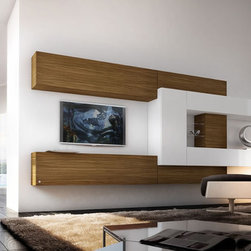 Free Form - Italian made floating entertainment center W/ White high gloss W/ Walnut W/ Custom sizes available.
