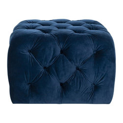 Safavieh - Kenan Ottoman - Navy - Add a young graphic statement to contemporary rooms with the Kenan ottoman, a neat and structured update of the classic bean bag. Filled with foam and covered in velvety navy blue cotton fabric, this geometric design is lavishly detailed with button tufting.