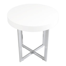 Euro Style - Oliver Side Table - White Lacquer/Chrome - This is a very space efficient workstation. Epoxy coated steel in either a graphite/smoked look or in bright aluminum and frosted glass the L desk has room for all the necessities and all the niceties that make it comfortable, functional and space saving.