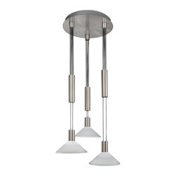 AFX - Centre Satin Nickel Cone White Swirl Pattern Glass Three-Light LED Mini Pendant - - The Centre LED retractable pendant complements a variety of d�cor styles. Featuring a polished, satin nickel finish and white linen patterned glass, the fixture is offered in three glass shade profiles - Cylindrical, parabolic and conical. A versatile, manually adjustable counter-weight pulley system, allows repositioning of the height without having to cut or add cable length. This offers generous design flexibility   - Made in the USA  - Diffuser Type: White Swirl Pattern Glass (Cone)  - Cord/Steam Length: 65.5  - Kelvin: 4000K, cool light  - Lumens: 284  - Unit Height: 5.5  - Unit Length: 65.5  - Unit Width: 7.5  - Item Weight: 26  - Includes bulbs  - Material: Metal and Glass AFX - CNP340041LSNCWS