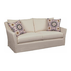 Chelsea Home - Zoey Upholstered Sofa - Includes toss pillows. Medium seating comfort. 0.88 in. engineered hardwoods cut on a C and C router frame. Frame joints are interlocked and glued for strength and durability. Corners are block reinforced to provide extra stability for longevity. Reversible seat cushions. Zippered pillows. Heavy gauge coils are used in the drop in coil unit for consistent seating. Seat cushion is 1.8 high resiliency foam core surround by luxurious fiber for softness and wrapped in a down proof ticking cover. Montague cream 63% cotton, 19% rayon, 18% linen sofa fabric. Solar onyx 100% cotton throw pillows fabric. Constructed with top of line drop in coil unit surrounded by angle iron and then secured to the frame for inner strength. Made in USA. No assembly required. Seat: 23 in. L x 26.5 in. W x 21 in. H. Overall: 88 in. L x 37 in. W x 40 in. H (190 lbs.)Our beautiful slip cover collection is specially crafted with you in mind. Our unique slipcover system allows you to change your cover whenever you want. Whether it be a little dirty, a new season, or you are just bored with your current look, we have you covered.