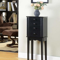 None - Promo 3 Drawer Jewelry Armoire - This jewelry armoire features large button drawer pulls,a scalloped apron,tapered legs,and an elegant black finish. With three convenient drawers,this armoire is both a convenient storage solution and a stylish accent to any decor.