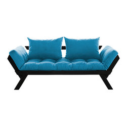 Fresh Futon - Fresh Futon Bebop Convertible Futon Sofa/Bed, Black Frame, Horizon Blue Mattress - Bebop will have you feeling energized after a rest, like a fast tempo melody on the dance floor. Sit back and relax in one of three positions, loveseat sofa, mattress, and daybed. Available in natural and black frames with 9 twill fabric color options.