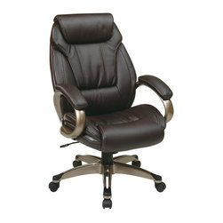Office Star - Office Star Work Smart Executive Eco Leather Chair with Padded Arms - Office Star - Office Chairs - ECH30621EC1 - Executive Eco Leather Chair with Padded Arms and Coated Base. Cocoa coated base with espresso eco leather. Pneumatic seat height adjustment, 360� swivel seat, pivot tilt, tilt tension and locking tilt control.