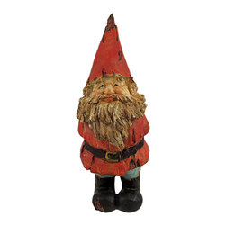 'Gimme a Kiss' Wooden-Look Garden Gnome Statue - This adorable red-coat-wearing garden gnome statue looks like it was carved from driftwood. Measuring 10 1/4 inches tall, 3 1/2 inches long and 4 1/4 inches deep, this adorable gnome is leaning forward, lips pursed to kiss somebody. Exposed `wood` on his body and clothing give the gnome a chic aged look. This statue looks great in gardens and flower beds, and makes a great gift.