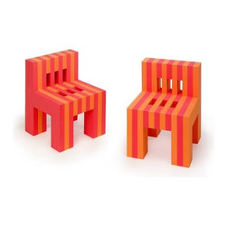 """Offi - EVA Foam Kid's Desk Chair (Set of 2) - The couple introduced the EVA Childrens Collection at the 2002 International Contemporary Furniture Fair in New York City. Time Magazine selected the chair as one of the """"Coolest Inventions of 2002,"""" and the collection toured with the Vitra Design Museum throughout Europe and Japan before settling at the Carnegie Museum of Art. One of only two childrens chairs acquired by the Carnegie Museum of Art, the The EVA foam chairs are expertly cut from soft, sturdy EVA foam. Their child-size proportions and sturdy construction make them the perfect addition to your childs modern play space. Your child will also love their bright, fun colors. Perfectly at home indoors or outdoors, these EVA foam chairs are also durable, lightweight and washable. Features: -EVA foam construction. -Set of 2. -Ideal for indoor and outdoor use. -Lightweight, durable and washable. -Dimensions: 17.5"""" H x 13"""" W x 14"""" D."""