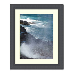 """Frames By Mail - Wall Picture Frame Black Ribbed with a white acid-free matte, 8x10 - This 8X10 2.25"""" wide black ribbed frame is imported from Italy.  The white matte can be removed to accommodate a larger picture.  The frame includes regular plexi-glass (.098 thickness) foam core backing and can hang either horizontal or vertical."""