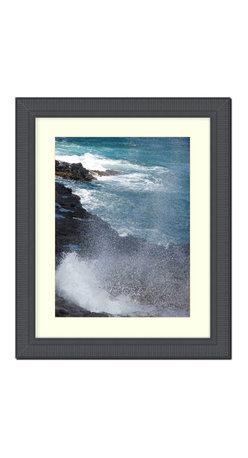 "Frames By Mail - Wall Picture Frame Black Ribbed with a white acid-free matte, 8x10 - This 8X10 2.25"" wide black ribbed frame is imported from Italy.  The white matte can be removed to accommodate a larger picture.  The frame includes regular plexi-glass (.098 thickness) foam core backing and can hang either horizontal or vertical."