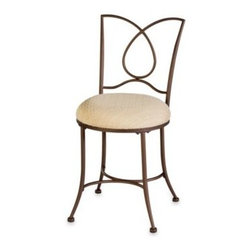 Hillsdale - Hillsdale Rachael Looped Vanity Stool - The Rachael vanity stool has a beautiful looped back. The elegant brown finish, graceful legs and padded seat will add glamor to any bedroom or bathroom.