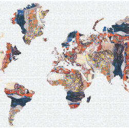 "Studio Map Mural - Klimt Bride - Peel & Stick - 1 Panel - 74"" x 36"" - From our studio collection, decorative map themed prints in huge wall mural sizes. Instant color or texture to any room!   The peel and stick material goes up in seconds, is repositionable, and will not damage walls when removed. The finely woven fabric material will not wrinkle or bubble, and will stay put for years. This is an ideal material for dorm rooms and apartments where permanent modifications to walls are forbidden. Instantly add color and visual texture to your room with one of these easy to hang, map themed wall coverings. (Note that due to the flexibility and nature of the thin fabric material, uneven wall surfaces may show texture through the material. For best results apply to a smooth surface.)  Single panel murals come as a single sheet & are intended for one or two people to apply.  Studio Map Murals are made to order & are not returnable once opened.  Please allow two weeks for delivery.  Express shipping not available."