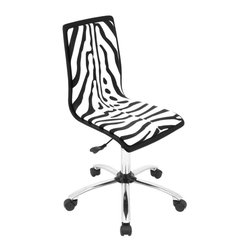 Lumisource - Zebra Computer Chair - Unique printed design. Padded seat and back area. Sturdy. 360 degree swivel. Wheels for mobility. Adjustable height from 17 in. to 21.5 in.. Made from wood, foam and chrome. Black and white finish. Assembly required. Seat height : 17 in. to 21.5 in.. 23 in. W x 23 in. D x 38.50 in. H (19 lbs.)