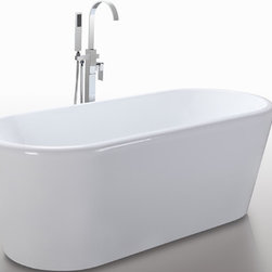 "HelixBath Dionysias Freestanding Acrylic Bath Tub 67"" White - The Dionysias design softens all edges both Horizontal and vertical. The top rail features a soft rounded surface. Both gracefully wrap into the sides with soft curves. Dionysias imbues simplistic elegance of the modern classic soaking tub. Faucet shown for display purpose only and sold separately. Designs created for bathing purists. The curves and lines are well conceived & uncomplicated. Helixbath�s well tailored soaking tubs provide an ergonomic comfortable spa experience. Featuring an easy to clean 3M Fade Resistant finish and stainless steel frame, Dionysias is the very definition of beautiful longevity."