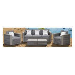 """Lamps Plus - Contemporary Atlantic 5-Piece Mustang Wicker Patio Set - Atlantic 5-Piece Mustang Wicker Patio Set. 5-piece patio set. Includes one sofa two armchairs two coffee tables and gray pillows. Brown finish. Aluminum and synthetic wicker frame. Includes free Feron Gard Vinyl Preservative for protection. Polyester cushions have water repellant treatment. From the Atlantic collection. Some assembly required. Sofa is 81"""" wide 29"""" deep 26"""" high. Armchairs are 35"""" deep 29"""" wide 26"""" high. Coffee tables are 24"""" wide 24"""" deep and 12 1/2"""" high.  5-piece patio set.  Includes one sofa two armchairs two coffee tables and gray pillows.   Brown finish.  Aluminum and synthetic wicker frame.  Includes free Feron Gard Vinyl Preservative for protection.  Polyester cushions have water repellant treatment.  From the Atlantic collection.  Some assembly required.  Sofa is 81"""" wide 29"""" deep 26"""" high.   Armchairs are 35"""" deep 29"""" wide 26"""" high.   Coffee tables are 24"""" wide 24"""" deep and 12 1/2"""" high."""