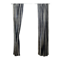 "Ichcha - Les Dames' Window Curtain, 96"" - Mix and Match Pair of Stripes and Toiles, a unique interpretation of History done in its original form, hand block printing. The Panels are hand block printed and colored with natural dyes! The pair is a mix of Charcoal and Red, turning your living room into a French home of the past."
