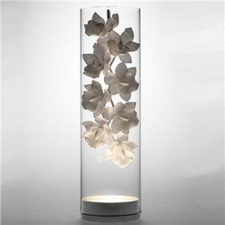 20012 - Jeremy Cole Cymbidium Glass Vessel Lamp - At first glance it's a vase with an orchid branch in it; at second glance it's a ceramic branch that glows. This artful lamp is one you place carefully and honor; and it does double-duty as a unique centerpiece.
