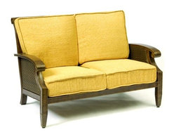 Woodard - Del Cristo Loveseat (Thayer) - Fabric: Thayer. Wicker frame. Seat Height: 17.5 in. H. 53.5 in. W x 37 in. D x 36 in. H. All products are made to order. Orders cannot be cancelled after 5 calendar days. If order is cancelled after 5 calendar days, a 50% restocking fee will be applied.