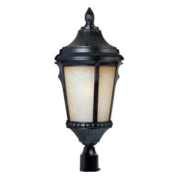 Maxim Lighting - Maxim Lighting Odessa ES Energy Efficient Traditional Outdoor Post Lantern Light - This energy efficient Maxim Lighitng outdoor post lantern light features traditional detailing and rich finishes that make sure it will please and delight. From the Odessa Collection, the early American nuances and traditional details are highlighted by a dark Espresso finish. A creamy latte glass shade ensures evenly diffused outdoor security lighting.