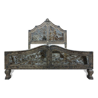 Bedroom Furniture - This is a gorgeously distressed and elaborately designed bed that The Koenig Collection offers that features distressed finshed mirror and decorative feet. See more at a local Houston showroom or online at www.KoenigCollection.com