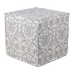 """Chooty - Chooty Abigail Storm Twill Collection 17"""" Square Seamed Foam Ottoman - Insert 100 High Density Foam, Fabric Content 100 Cotton, Color Grey, White, Hassock 1"""