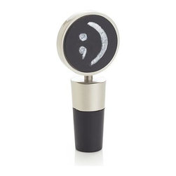 Chalkboard Bottle Stopper - Our sleek stopper tops off with a chalkboard circle, just waiting for initials, tasting notes and labels. A great way to number blind wine tastings. Rubber stopper seals in aromas and keeps out air to keep wine fresh.