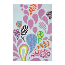 Grandin Road - Crazy Multicolored Area Rug - 2'x 3' - Adorable and plush handcarved area rug. Whimsically patterned and pink paisley design on an ice blue (nearly white) ground. Hand-tufted construction. 100% modacrylic. Extend the life of your rug with a Nonslip Rug Pad (sold separately). Our sculpted Crazy Paisley Indoor Area Rug invites a paisley pattern to show its wild side on the floor of your hippest room.. . . . .