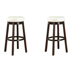 Furnituremaxx - Wooden Swivel Barstools, Bar Height, Snow White, Set of 2 - Add style to any room with this Fun Color Wood Swivel Bar Stool, featuring a large round leather seat in 4 fun colors. With the espresso wood accent, it matches well with many of today's game rooms and kitchens. Available in bar and counter heights with a full 360-degree swivel seat and footrail for added comfort. Dimensions: 20W x 20D x 30H Inch, seat cushion 15in. round. Some assembly required.
