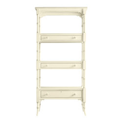 Stanley Furniture - Coastal Living Cottage Etagere - Fall in love with this Coastal Living  tag re. It doesn t matter if you live on the coast or in the middle of a teeming metropolis, this piece looks great anywhere and has the subtle nuances that will remind you of the coast. Three fixed position shelves allow you to display your favorite things and the open airy feel reminds you of breezy days spent at the beach. Three drawers, each subtly added under a shelf, store other items. The carving on the legs makes this piece a real standout, as does the scalloped carving at the top. Did someone say scallops? Each  tag re is available in thirteen color finishes all reminiscent of the sea and coastal American life. Painted finishes are gently hand distressed for weathered perfection.