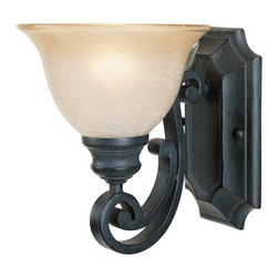 Designers Fountain - Designers Fountain Barcelona Traditional Wall Sconce X-IN-10169 - This Designers Fountain Barcelona Traditional Wall Sconce is a piece with refined elegance and a timeless appeal. Notice the hand-forge ironwork in a natural iron finish that creates a wonderful contrast to the ochere glass shade. It's a magnificent piece that no stylish and sophisticated home should be without.