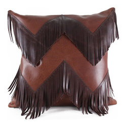 """Pfeifer Studio - Western Fringe Pillow, 18""""x18"""" - Channel your inner cowboy with this handsome fringe pillow in a chevron pattern. Each pillow has a matching leather back, closes with a hidden garment zipper and is fitted with a medium-fill feather and down inner. Our pillows are each individually handmade-to-order using natural materials, each is considered unique and one-of-a-kind."""