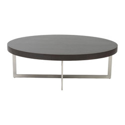 Euro Style - Oliver Coffee Table - Wenge/Brushed Stainless Steel - This is a very space efficient workstation. Epoxy coated steel in either a graphite/smoked look or in bright aluminum and frosted glass the L desk has room for all the necessities and all the niceties that make it comfortable, functional and space saving.