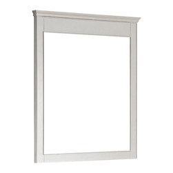 """Lamps Plus - Country - Cottage Avanity Windsor 36"""" High White Wall Mirror - Windsor 34"""" Wide White Wall Mirror Solid poplar wood frame large wall mirror. White finish frame and simple lines. Beveled mirror glass. Easy hanging with cleat on back. Includes mounting hardware. Vertical hang only. 30"""" wide. 36"""" high. 2"""" deep.  Solid poplar wood frame large wall mirror.  White finish frame and simple lines.  Beveled mirror glass.  Easy hanging with cleat on back.  Includes mounting hardware.  Vertical hang only.  30"""" wide.  36"""" high.  2"""" deep."""