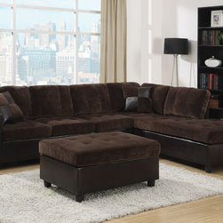 Coaster - Mallory Sectional with Ottoman, Chocolate - Bring an inviting and warm atmosphere to your living room with our Mallory sectional. Ultra plush padded textured velvet in chocolate or cream, which is paired with tri-tone leather-like vinyl to create a casual style. Loose seat and back cushions will keep you and your guests comfortable and complementary accent pillows add style to this piece. Our Mallory sectional has reversible construction making it easy to change the look of your room. Pair this piece with a matching ottoman.