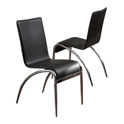 Great Deal Furniture - Aude Modern Design Chrome Base Black Accent Dining Chairs (Set of 2) - With their classic design, clean lines, and unmistakable silhouette, the Aude Modern Design Dining Chairs will add a unique contemporary flare to any room in your house. These attractive chairs are an easy way to add a modern touch to any home, and the simple design and sleek back will pair well with your table to complete the contemporary look you've been seeking.