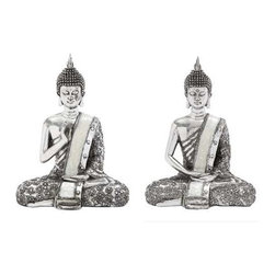 BZBZ44238 - Poly Stone Spiritual Sitting Buddha Assorted Set of 2 - Poly Stone Spiritual Sitting Buddha Assorted Set of 2. Some assembly may be required.