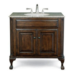 "Cole & Co. - Cole & Co. Custom Collection 37"" Estate Vanity - Large in Antique Brown - Cole & Company combines great design with great flexibility, allowing you to mix and match size, finish, and style to create your own perfect bathroom vanity. This traditional chest is made of the finest select alder solids and cherry veneers, distressed and then finished in our old-world finish and completed with antique bronze hardware. The Classic features raised panel ends and hard-carved Queen Anne legs. The Estate features raised panel ends and ball-and-claw legs. Cole & Co. offers a coordinated selection of stone tops, and a wide selection of sinks so you can create your own custom look. All tops are pre-cut for a 14"" x 17"" undermount sink (including the Cole & Co. Hampton sink in biscuit and white porcelain). Available in 25"", 31"" and 37"" widths, as well as 5 stone top options and 2 sink choices to complement the finish. Your Cole & Co. quality vanity is a significant investment expected to last for generations. To maintain its beauty and help it last, please refer to the Custom Collection product information sheet and the Care & Cleaning FAQ. Each piece is handmade and finished and actual color may vary. Information regarding the return policy of your Cole & Co. product is available here. If you have any questions, please contact us before ordering. Features: Completely hand made Antique Brown 37""W x 22""D x 35 1/4""H Faucet(s) not included Sink(s) not included Pre-cut for standard 8"" widespread faucetMinimal assembly required How to handle your counter Natural stone like marble and granite, while otherwise durable, are vulnerable to staining from hair dye, ink, tea, coffee, oily materials such as hand cream or milk, and can be etched by acidic substances such as alcohol and soft drinks. Please protect your countertop and/or sink by avoiding contact with these substances. For more information, please review our ""Marble & Granite Care"" guide."