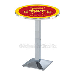 Holland Bar Stool - Holland Bar Stool L217 - Chrome Iowa State Pub Table - L217 - Chrome Iowa State Pub Table belongs to College Collection by Holland Bar Stool Made for the ultimate sports fan, impress your buddies with this knockout from Holland Bar Stool. This L217 Iowa State table with square base provides a commercial quality piece to for your Man Cave. You can't find a higher quality logo table on the market. The plating grade steel used to build the frame ensures it will withstand the abuse of the rowdiest of friends for years to come. The structure is triple chrome plated to ensure a rich, sleek, long lasting finish. If you're finishing your bar or game room, do it right with a table from Holland Bar Stool. Pub Table (1)