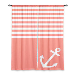 """DiaNoche Designs - Window Curtains Lined by Organic Saturation - Coral Love Anchor Nautical - Purchasing window curtains just got easier and better! Create a designer look to any of your living spaces with our decorative and unique """"Lined Window Curtains."""" Perfect for the living room, dining room or bedroom, these artistic curtains are an easy and inexpensive way to add color and style when decorating your home.  This is a woven poly material that filters outside light and creates a privacy barrier.  Each package includes two easy-to-hang, 3 inch diameter pole-pocket curtain panels.  The width listed is the total measurement of the two panels.  Curtain rod sold separately. Easy care, machine wash cold, tumble dry low, iron low if needed.  Printed in the USA."""