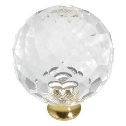 Hickory Hardware - 35mm Crystal Palace Crysacrylic Polished Brass Cabinet Knob (BPP35-CA3) - 35mm Crystal Palace Crysacrylic Polished Brass Cabinet Knob